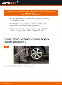 Wie der Wechsel durchführt wird: Stoßdämpfer 1.6 HDI 110 Peugeot 307 SW tauschen