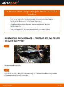 Wie der Wechsel durchführt wird: Bremsbeläge 1.6 HDI 110 Peugeot 307 SW tauschen
