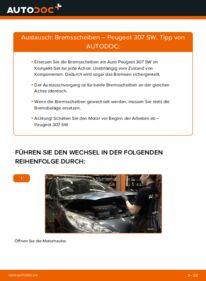 Wie der Wechsel durchführt wird: Bremsscheiben 1.6 HDI 110 Peugeot 307 SW tauschen