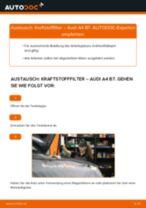 PDF Wechsel Anleitung: Spritfilter AUDI A4 Limousine (8EC, B7) Diesel + Benzin