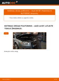 Kaip atlikti keitimą: 2.0 TDI 16V Audi A4 B7 Sedanas V formos rumbuotas diržas