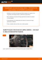 Tutorial passo a passo em PDF sobre a substituição de Escovas do Limpa Vidros no VW GOLF VI (5K1)