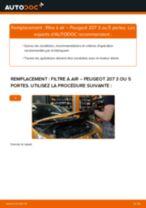Comment changer : filtre à air sur Peugeot 207 3 ou 5 portes - Guide de remplacement