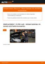 Comment changer : filtre à air sur Nissan Qashqai J10 - Guide de remplacement