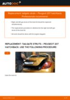How to change tailgate struts on Peugeot 207 hatchback – replacement guide