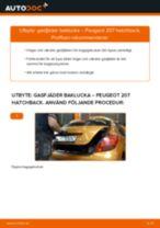 Byta gasfjäder baklucka på Peugeot 207 hatchback – utbytesguide