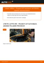 Byta luftfilter på Peugeot 207 hatchback – utbytesguide