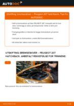 Hvordan bytte Bremseskiver bak og foran PEUGEOT 207 (WA_, WC_) - guide online