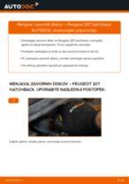 Kako zamenjati avtodel zavorni diski spredaj na avtu Peugeot 207 hatchback – vodnik menjave