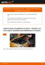 Como substituir Kit rolamento roda traseira e dianteira PEUGEOT 207 (WA_, WC_) - manual online