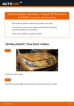 Kaip pakeisti Peugeot 207 hatchback pakabos statramstis: priekis - keitimo instrukcija