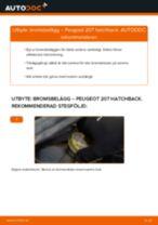 Byta bromsbelägg fram på Peugeot 207 hatchback – utbytesguide