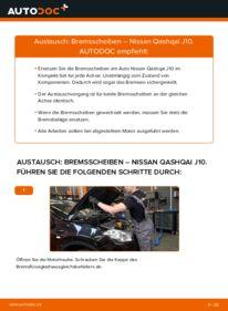 Wie der Wechsel durchführt wird: Bremsscheiben 1.5 dCi Nissan Qashqai j10 tauschen