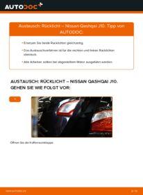 Wie der Wechsel durchführt wird: Heckleuchte 1.5 dCi Nissan Qashqai j10 tauschen
