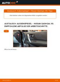 Wie der Wechsel durchführt wird: Außenspiegel 1.5 dCi Nissan Qashqai j10 tauschen