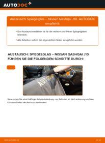 Wie der Wechsel durchführt wird: Spiegelglas 1.5 dCi Nissan Qashqai j10 tauschen