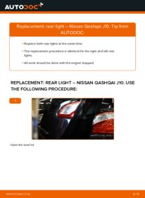 How to carry out replacement: Tail Lights on 1.5 dCi Nissan Qashqai j10