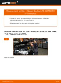 How to carry out replacement: Air Filter on 1.5 dCi Nissan Qashqai j10