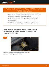 Wie der Wechsel durchführt wird: Bremsbeläge 1.4 HDi Peugeot 207 WA tauschen