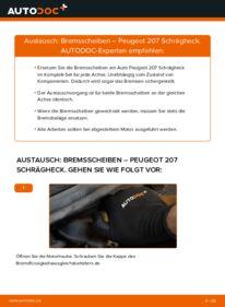 Wie der Wechsel durchführt wird: Bremsscheiben 1.4 HDi Peugeot 207 WA tauschen