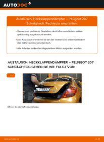 Wie der Wechsel durchführt wird: Heckklappendämpfer 1.4 HDi Peugeot 207 WA tauschen