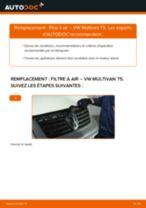 Comment changer : filtre à air sur VW Multivan T5 - Guide de remplacement