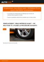 Comment changer : bras inférieur avant sur VW Multivan T5 - Guide de remplacement