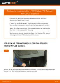 Wie der Wechsel durchführt wird: Innenraumfilter 2.5 TDI T5 Multivan tauschen