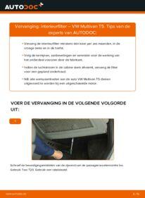 Vervangen: Interieurfilter VW MULTIVAN