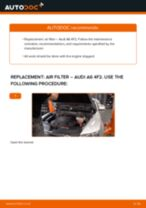 How to replace and adjust Air Filter AUDI A6: pdf tutorial