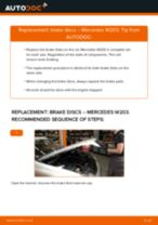How to change front brake discs on Mercedes W203 – replacement guide