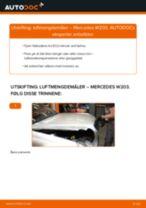 PDF med trinn for trinn-veiledning for bytte av Mercedes W201 Bremsecaliper Reparasjonssett
