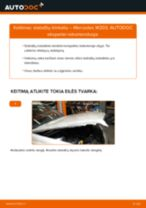 Kaip pakeisti Mercedes W203 stabdžių trinkeliu: galas - keitimo instrukcija