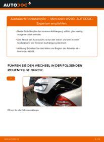 Wie der Wechsel durchführt wird: Stoßdämpfer C 220 CDI 2.2 (203.006) Mercedes W203 tauschen