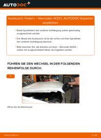 Wie der Wechsel durchführt wird: Federn C 220 CDI 2.2 (203.006) Mercedes W203 tauschen