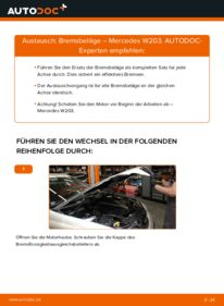 Wie der Wechsel durchführt wird: Bremsbeläge C 220 CDI 2.2 (203.006) Mercedes W203 tauschen
