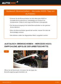 Wie der Wechsel durchführt wird: Bremsscheiben C 220 CDI 2.2 (203.006) Mercedes W203 tauschen