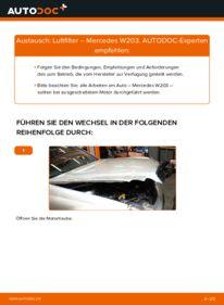 Wie der Wechsel durchführt wird: Luftfilter C 220 CDI 2.2 (203.006) Mercedes W203 tauschen