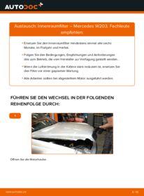 Wie der Wechsel durchführt wird: Innenraumfilter C 220 CDI 2.2 (203.006) Mercedes W203 tauschen