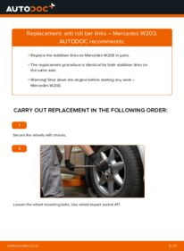 How to carry out replacement: Anti Roll Bar Links on C 220 CDI 2.2 (203.006) Mercedes W203