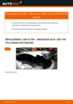 Step by step PDF-tutorial on Air Filter MERCEDES-BENZ E-CLASS (W211) replacement