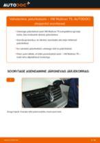 Paigaldus Piduriketas VW MULTIVAN V (7HM, 7HN, 7HF, 7EF, 7EM, 7EN) - samm-sammuline käsiraamatute