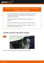 VW MULTIVAN V (7HM, 7HN, 7HF, 7EF, 7EM, 7EN) priekyje ir gale Stabdžių diskas pakeisti: žinynai pdf