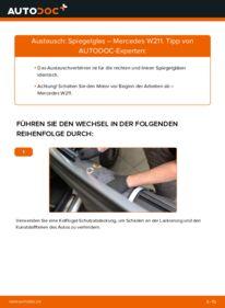 Wie der Wechsel durchführt wird: Spiegelglas E 220 CDI 2.2 (211.006) Mercedes W211 tauschen