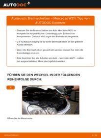 Wie der Wechsel durchführt wird: Bremsscheiben E 220 CDI 2.2 (211.006) Mercedes W211 tauschen