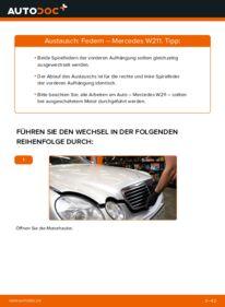 Wie der Wechsel durchführt wird: Federn E 220 CDI 2.2 (211.006) Mercedes W211 tauschen