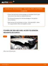 Wie der Wechsel durchführt wird: Bremsbeläge E 220 CDI 2.2 (211.006) Mercedes W211 tauschen