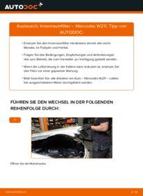 Wie der Wechsel durchführt wird: Innenraumfilter E 220 CDI 2.2 (211.006) Mercedes W211 tauschen