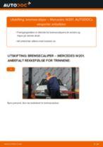 Skifte Bremsecaliper MERCEDES-BENZ 190: verkstedhåndbok