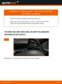 Wie der Wechsel durchführt wird: Handbremsseil 1.9 JTDM 8V (937.AXD1A, 937.AXU1A, 937.BXU1A) Alfa Romeo 147 937 tauschen